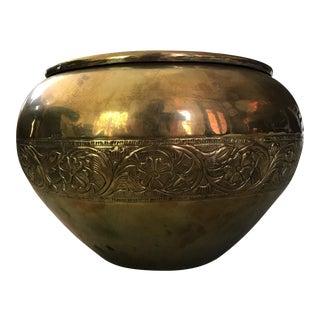 Embossed Brass Planter Pot