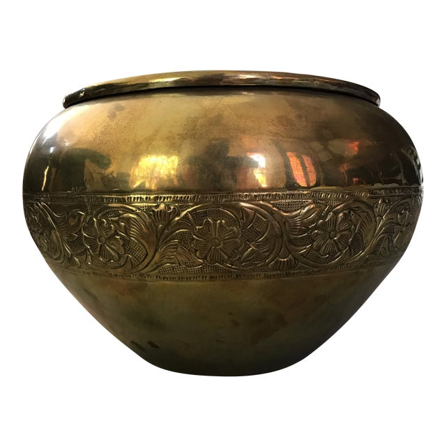 Embossed Brass Planter Pot For Sale