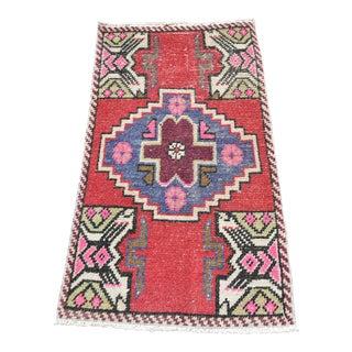 Vintage Anatolian Nomadic Antique Turkish Small Wool Rug Oushak Red Bohemian Rug- 1′6″ × 3′ For Sale