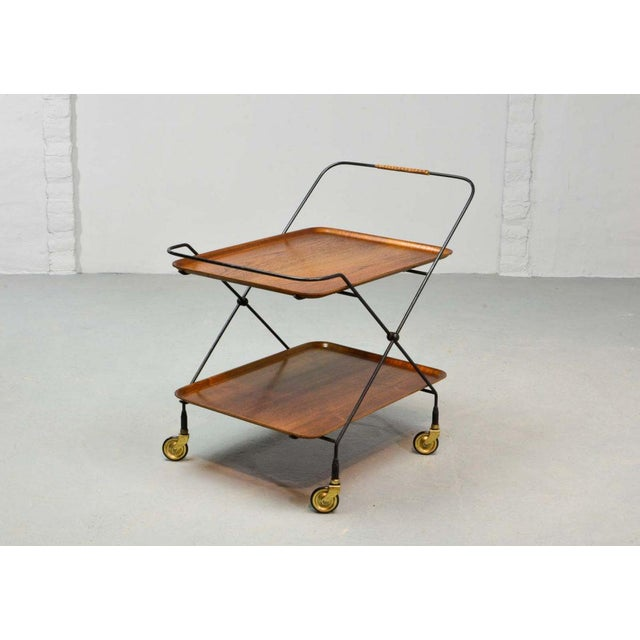 Mid-Century Modern Mid-Century Design Teak and Steel Tea Trolley on Brass wheels by Paul Nagel, Germany 1950s For Sale - Image 3 of 13