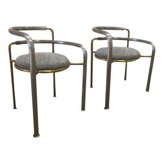 Thygesen and Sorensen Iron & Brass Chairs - a Pair For Sale