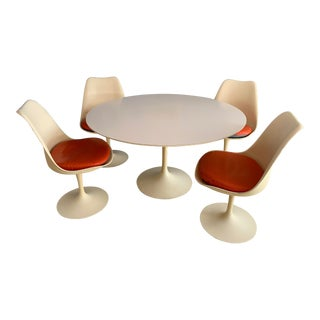 Vintage Knoll Tulip Table and Chairs - 5 Pieces For Sale