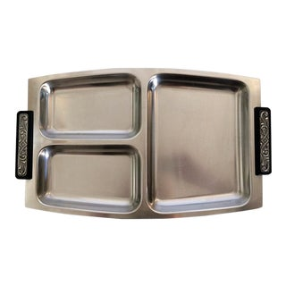 Selandia Denmark Mid-Century Modern Stainless Steel & Pewter Divided Tray For Sale