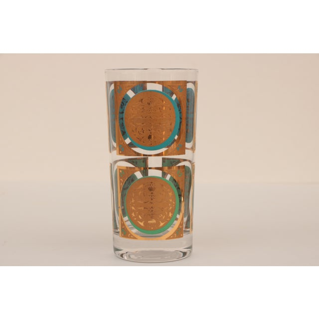 Mid-Century Modern Mid-Century Gold and Aqua Highballs - Set of 8 For Sale - Image 3 of 5