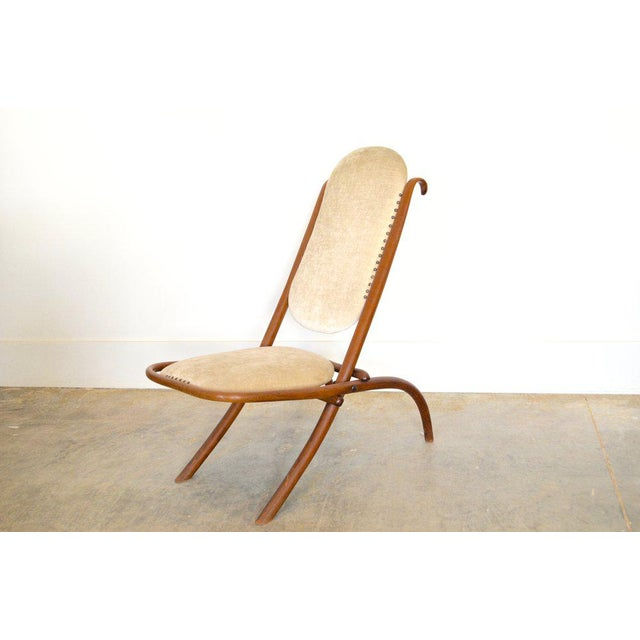 Gebruder Thonet Early 20th C Art Nouveau Folding Chair in Cream Velvet by Thonet For Sale - Image 4 of 4