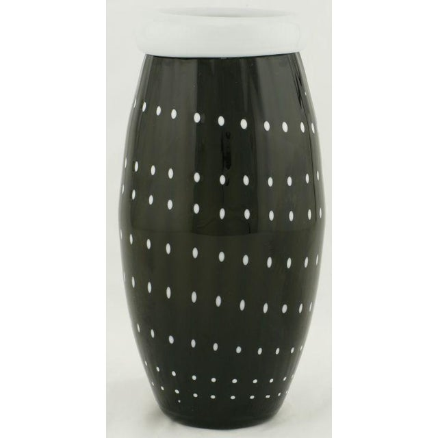 Superb Black Murano Cased Glass Vase With White Polka Dots Decaso
