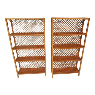 Late 20th Century Rattan Bookshelves - a Pair For Sale