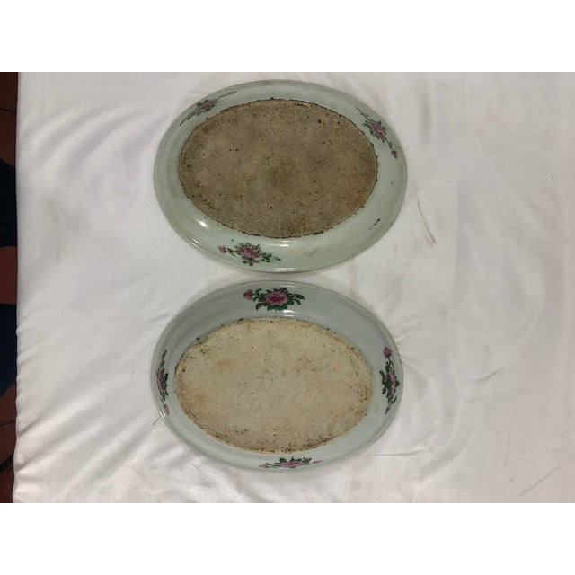 Antique Rose Medialion Oval Plates on Stands - a Pair For Sale - Image 10 of 11