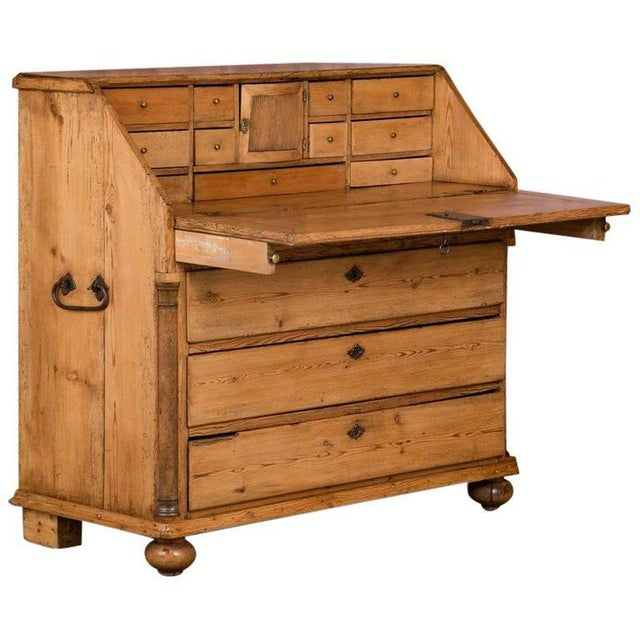 Brass 19th Century Country Pine Breakfront Bureau / Desk For Sale - Image 7 of 7