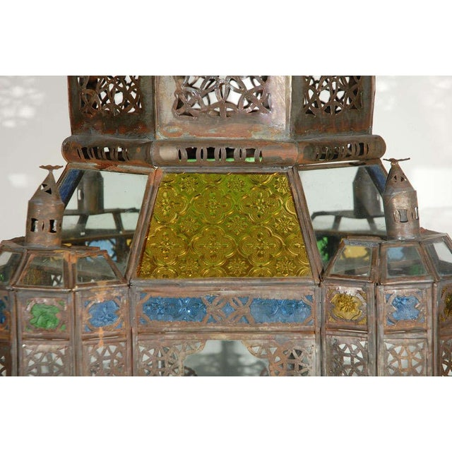 Vintage Moorish Glass Lantern From Marrakech For Sale In Los Angeles - Image 6 of 10