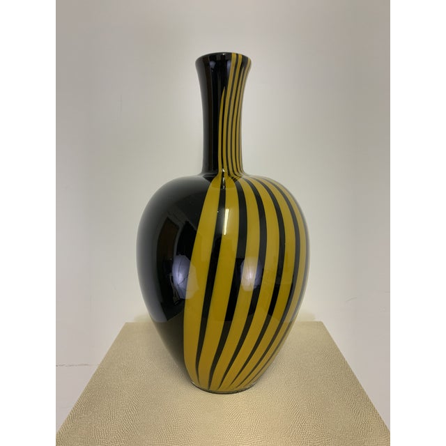 Glass Vintage Italian Black and Gold Glass Vase For Sale - Image 7 of 7
