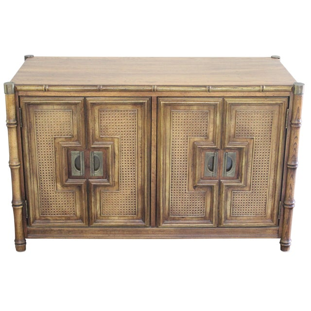 Stanley Mid Century Faux Bamboo Credenza - Image 1 of 11