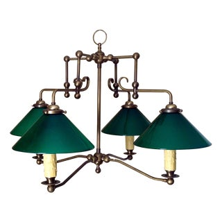 Antique Brass & Green Glass Billiard Light For Sale