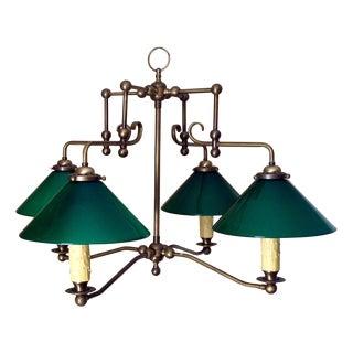 * Final Markdown * Antique Brass & Green Glass Billiard Light For Sale