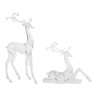 Kenneth Ludwig Acrylic Deer Figurines - Set of 2 For Sale