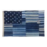 Image of Vintage Indigo Shibori Denim Patchwork Mudcloth Flag For Sale