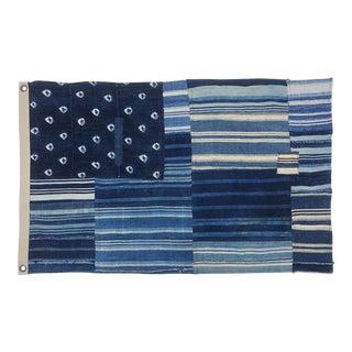 Vintage Indigo Shibori Denim Patchwork Mudcloth Flag For Sale