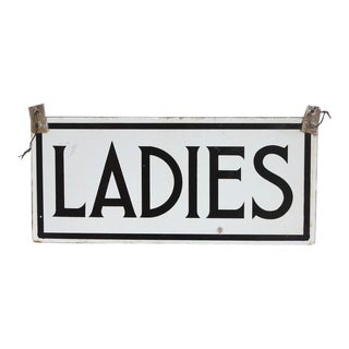 "1930's Vintage Porcelain Double Sided ""Ladies"" Sign For Sale"
