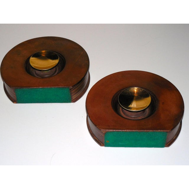 Animal Skin Modernist Round Leather & Brass Bookends - a Pair For Sale - Image 7 of 10