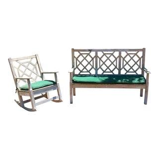 English Garden Sofa & Chair - A Pair For Sale