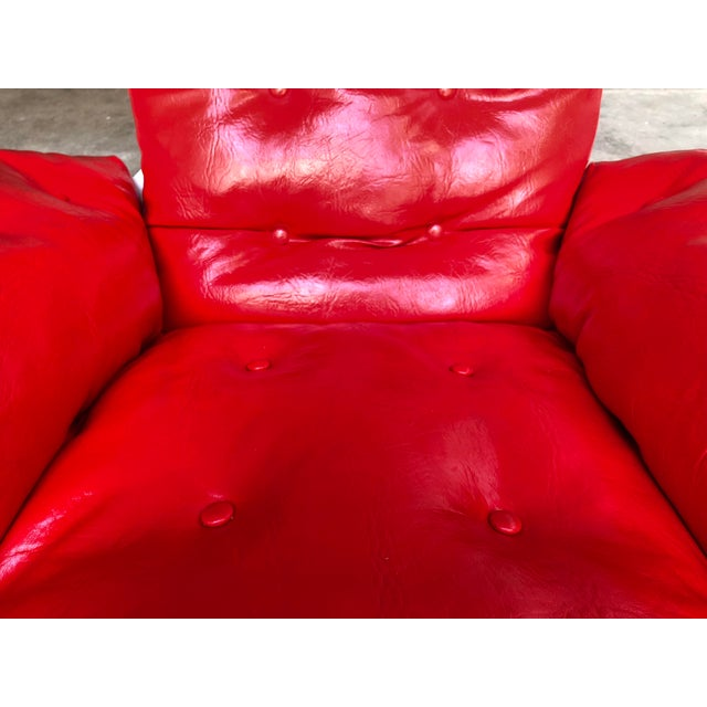 Mid Century Modern Space Age Red Leather Swivel Lounge Chair Molded Plastic Decorion Futorian Italian Style Vintage MCM For Sale - Image 10 of 11