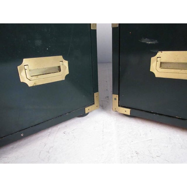 Pair of Vintage Modern Campaign Style Dressers For Sale - Image 4 of 10