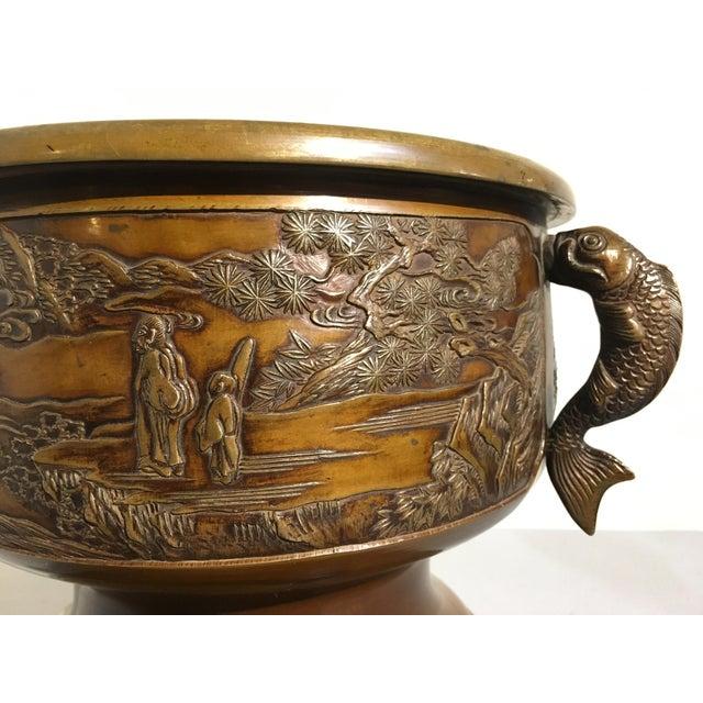 Japanese Cast Bronze Hibachi Jardiniere, Meiji Period For Sale - Image 9 of 11