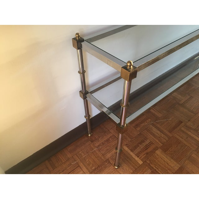 Chrome, Brass & Glass Console Table, 1970s - Image 4 of 6
