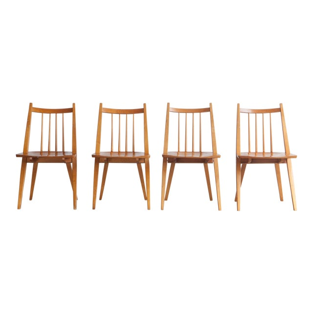 1970s Mid-Century Modern Maple Dining Chairs - Set of 4 For Sale