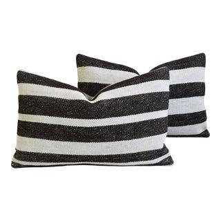 "Organic Hemp & Cotton Turkish Kilim Feather/Down Pillows 27"" X 18"" - Pair For Sale"