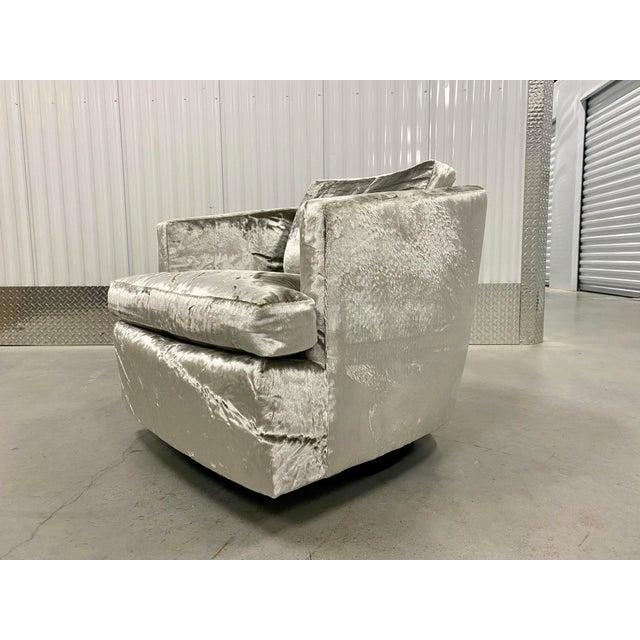 Restored Velvet Swivel Barrel Chair by Founders For Sale - Image 9 of 9