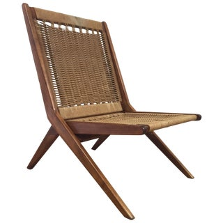 Mid-Century Folding Rope Lounge Chair For Sale