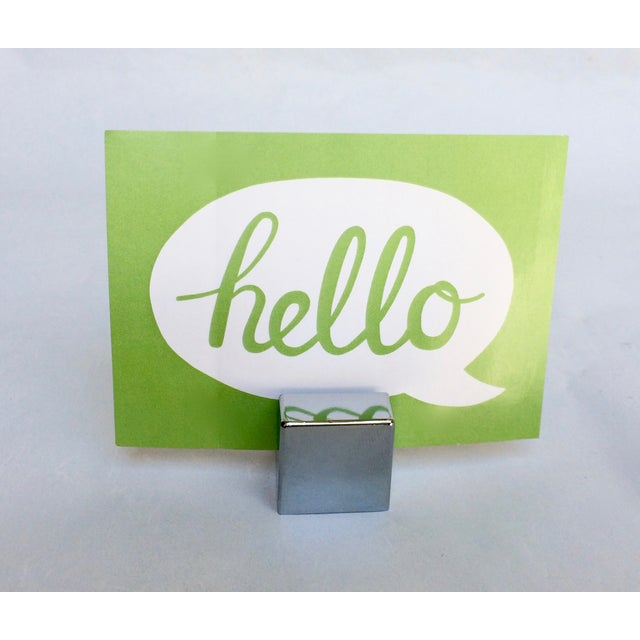 Chrome Cube Place Card Holders - Set of 8 For Sale - Image 4 of 4