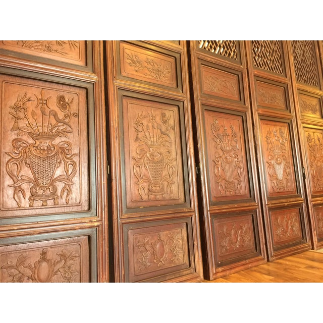 Early 20th Century Antique Chinese Carved Wood Doors - Set of 4 For Sale - Image 5 of 12