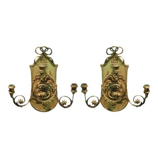 Pair of Continental Giltwood Three-arm Sconces For Sale