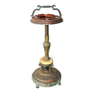 1920s Victorian Metal Standing Ashtray For Sale