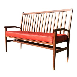 Mid Century Modern High Back Bench For Sale