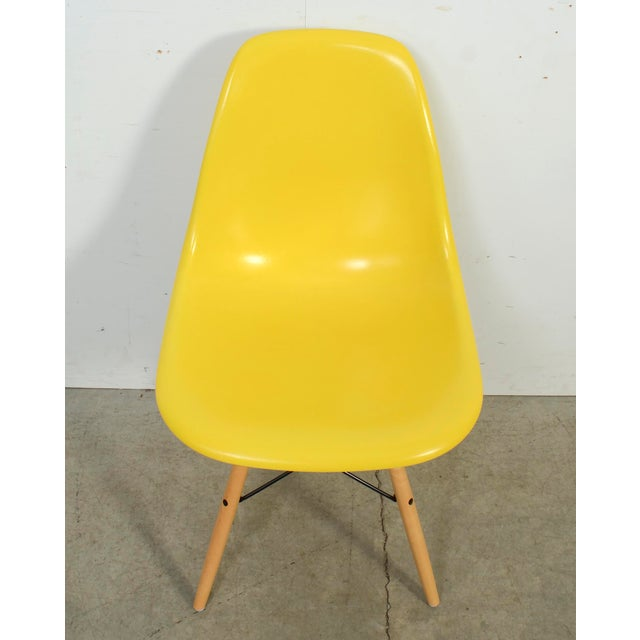 Fiberglass Yellow Shell Chair on a Dowel Base,DFSW,designed by Charles Eames for Herman Miller Condition- Great Vintage...