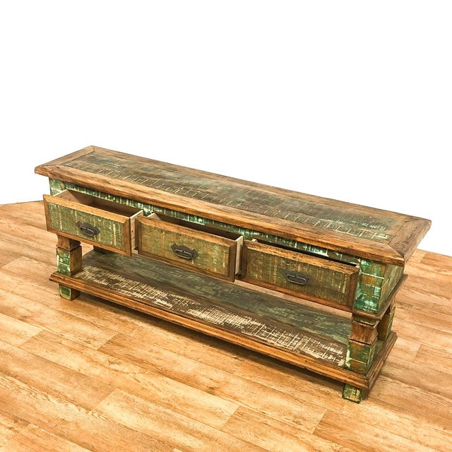 Recycled/Repurposed Reclaimed Wood Console Table For Sale - Image 7 of 8