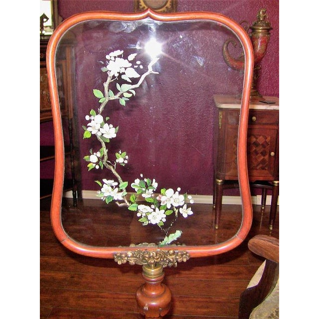 Early 19th Century 19c Telescopic or Extendable Tripod Based Fire Screen - Walnut With Hand Painted Glass For Sale - Image 5 of 13
