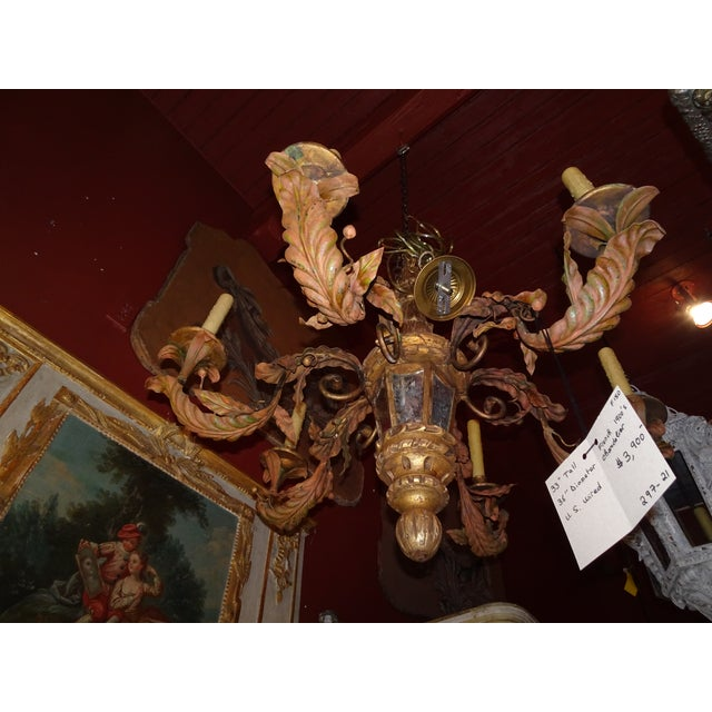 Antique French Gilt Wood and Iron Chandelier For Sale - Image 12 of 12