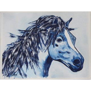 Horse Portrait in Indigo by Cleo Plowden For Sale