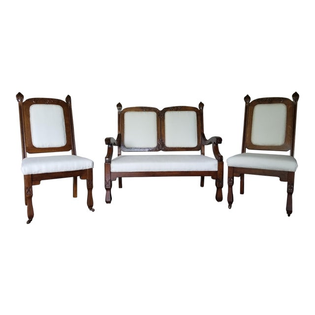 Boho-Chic Southwestern Antique Settee and Chairs For Sale