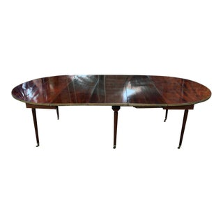 French Mahogany Tapered Leg Dining Table With Three Leaves For Sale