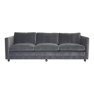 Three Seat Mid-Century Sofa in Performance Velvet For Sale