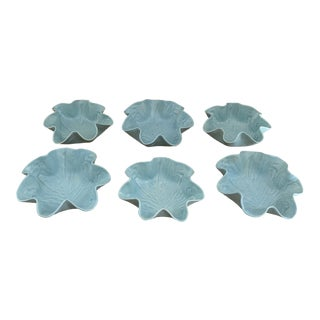 Dodie Thayer Style Pale Blue Vintage Cabbage Ware Bowls- Set of 6 For Sale