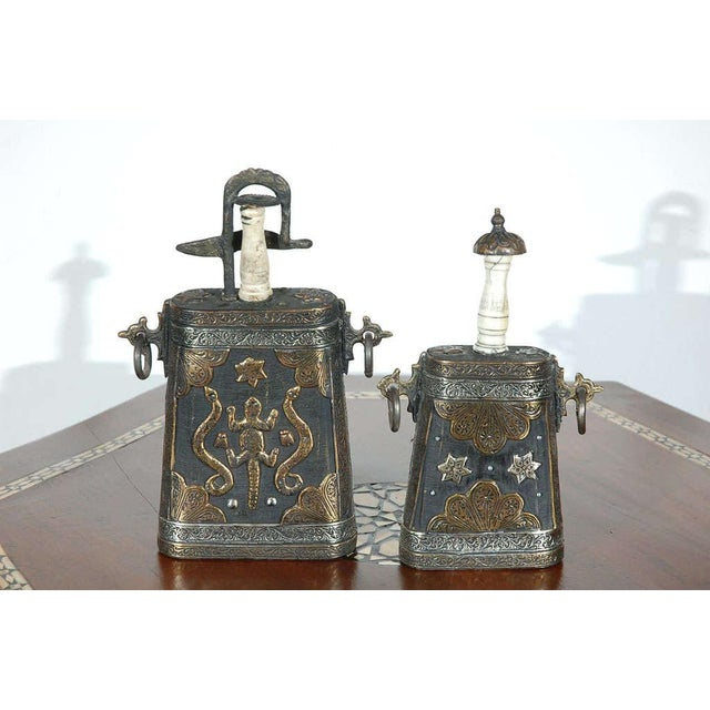 Set of Two Moroccan Antique Tribal Gun Powder Case Flask For Sale - Image 9 of 9