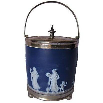 Antique Wedgwood Blue Jasper Dip Glaze Ice Bucket - Image 1 of 4