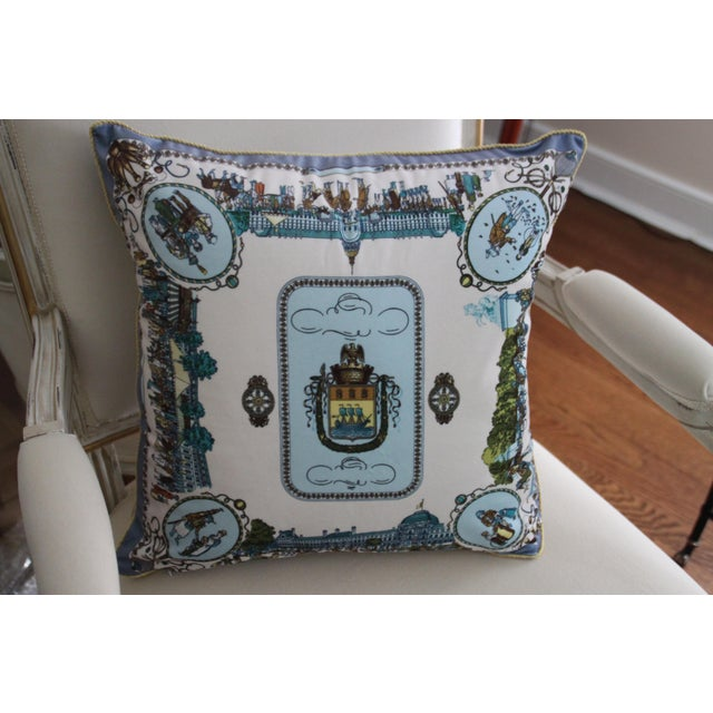 European Street Scene Scarf Pillow Cover For Sale In Richmond - Image 6 of 6