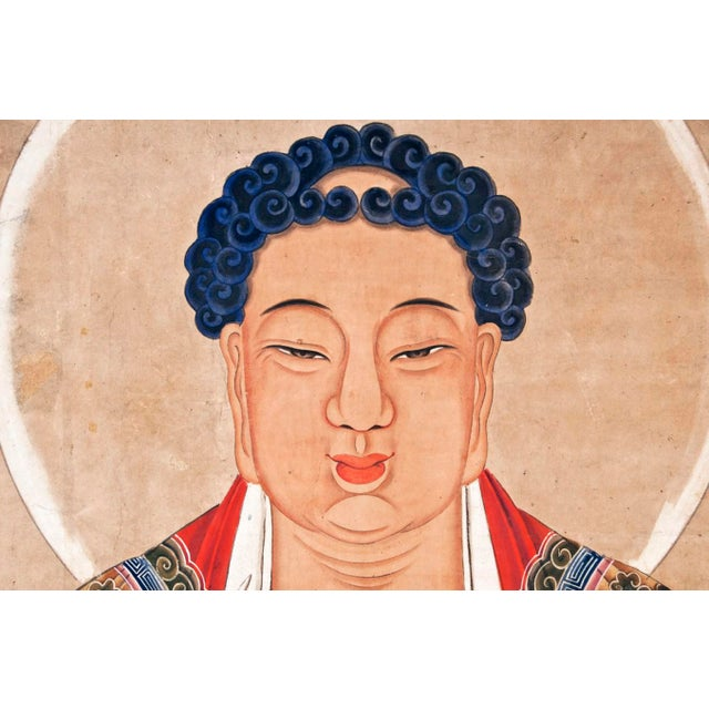 Asian Early 19th Century Temple Sized Mid Ching Dynasty Painting of Buddha For Sale - Image 3 of 3